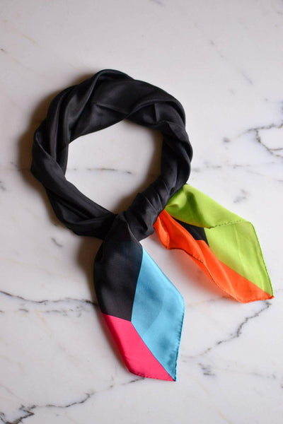 Bright Color Block Silk Scarf by Silk - Vintage Meet Modern Vintage Jewelry - Chicago, Illinois - #oldhollywoodglamour #vintagemeetmodern #designervintage #jewelrybox #antiquejewelry #vintagejewelry