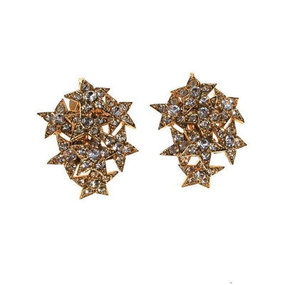 Gold Rhinestone Star Statement Earrings by Unsigned Beauties - Vintage Meet Modern Vintage Jewelry - Chicago, Illinois - #oldhollywoodglamour #vintagemeetmodern #designervintage #jewelrybox #antiquejewelry #vintagejewelry