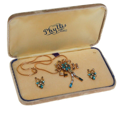 Blue Rhinestone Necklace, Earrings Set by Phyllis Originals by Phyllis Originals - Vintage Meet Modern - Chicago, Illinois
