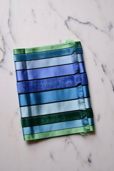 Blue and Green Striped Silk Scarf Made in France for Marshall Fields by Made in France - Vintage Meet Modern Vintage Jewelry - Chicago, Illinois - #oldhollywoodglamour #vintagemeetmodern #designervintage #jewelrybox #antiquejewelry #vintagejewelry