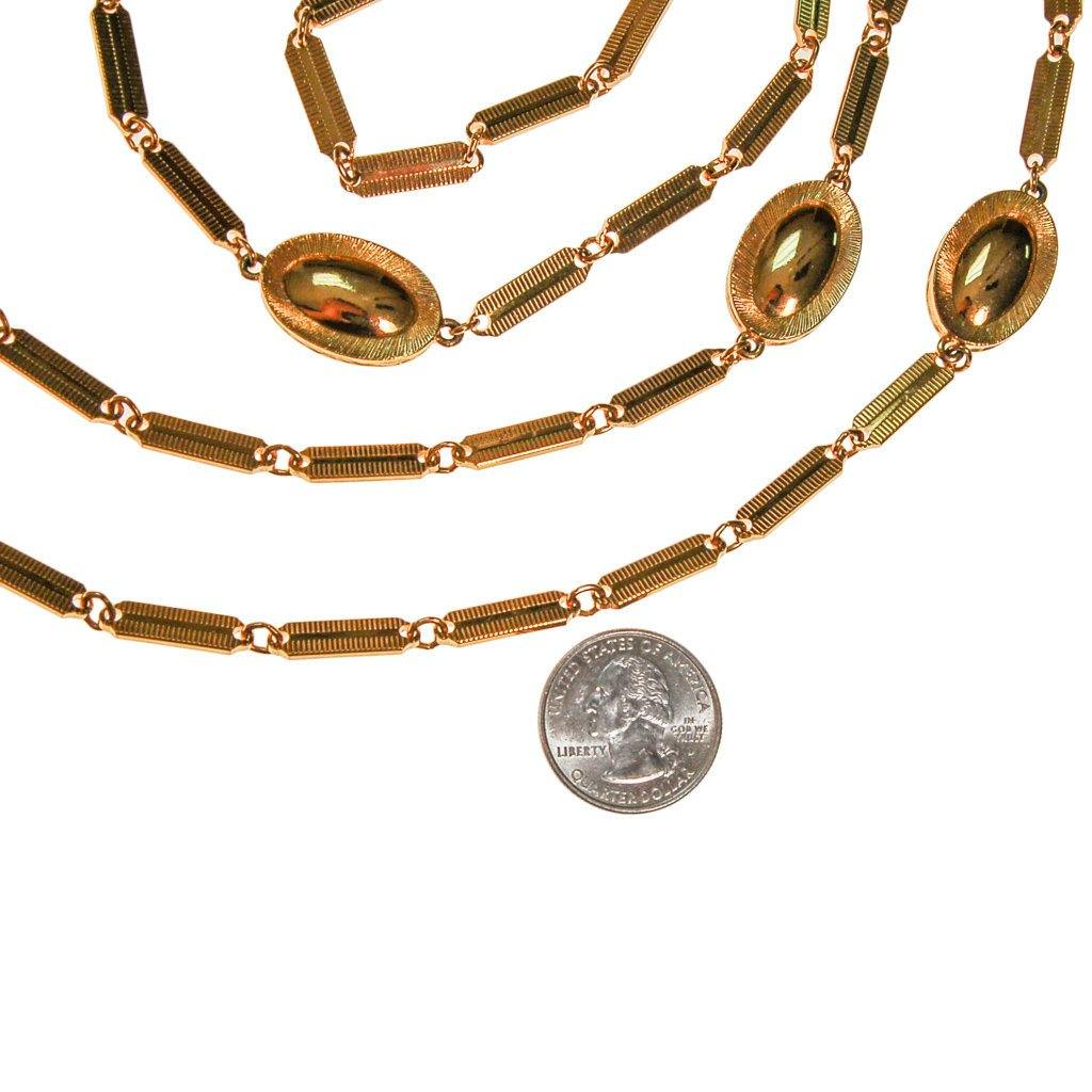 Monet Gold Flat Link and Oval Link Long Necklace