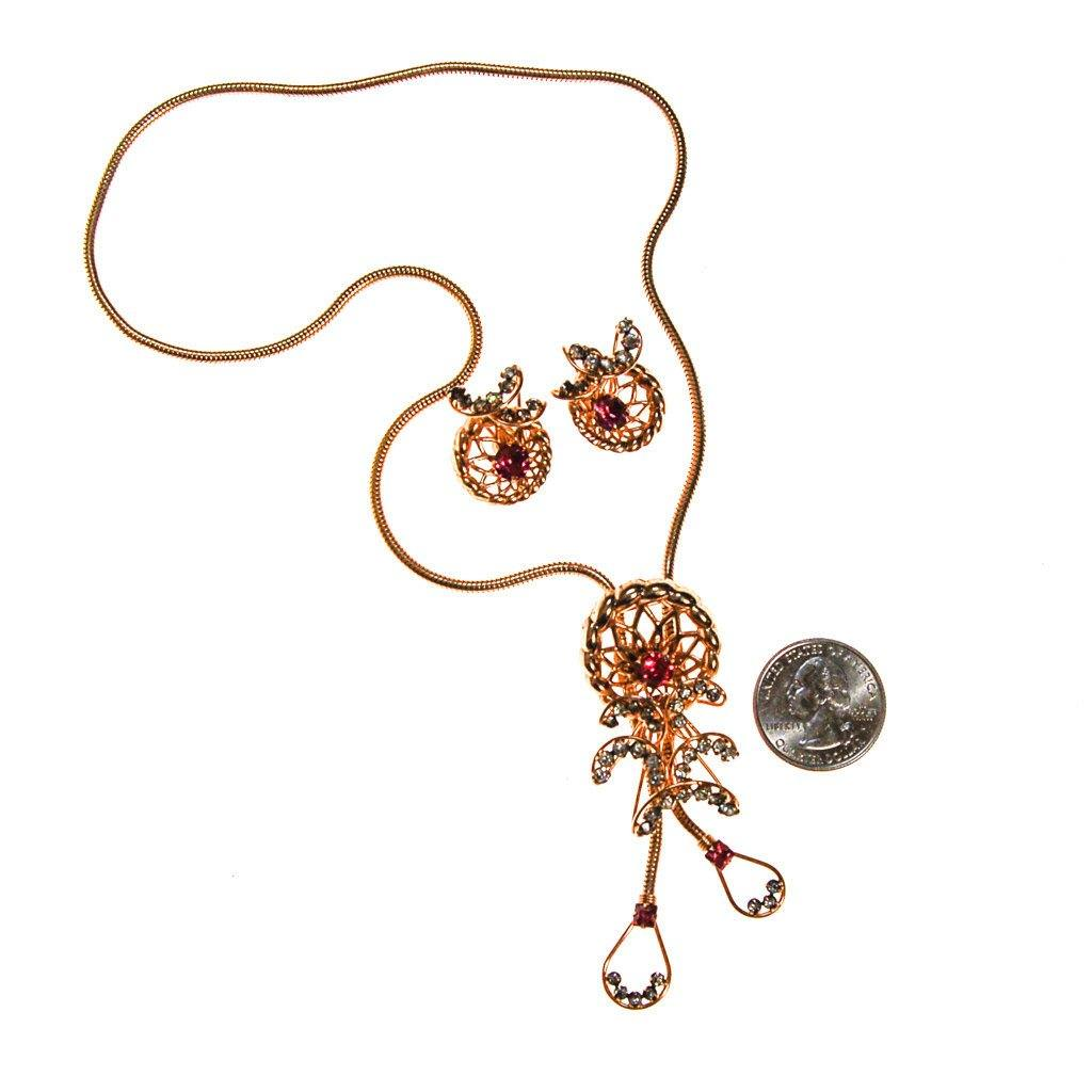 Pink Rhinestone Lariat Necklace and Earrings Set by Phyllis Originals - Vintage Meet Modern  - 3