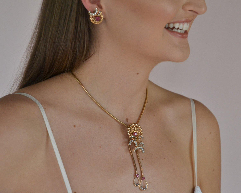 Pink Rhinestone Lariat Necklace and Earrings Set by Phyllis Originals - Vintage Meet Modern  - 5