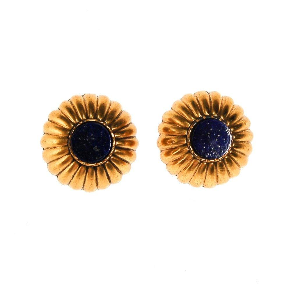 Gold and Lapis Round Medallion Earrings, Earrings - Vintage Meet Modern