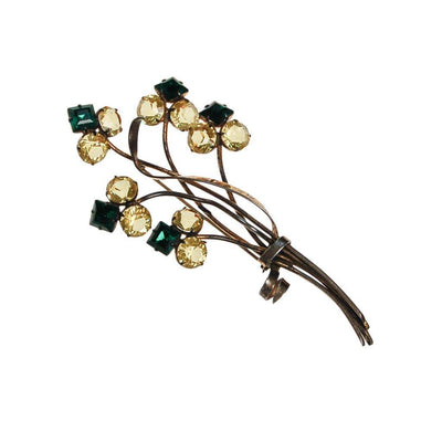 1930s Massive Sterling Silver Flower Brooch with Green and Yellow Rhinestones by Sterling Silver - Vintage Meet Modern Vintage Jewelry - Chicago, Illinois - #oldhollywoodglamour #vintagemeetmodern #designervintage #jewelrybox #antiquejewelry #vintagejewelry