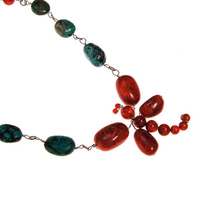 Coral And Turquoise Dragon Fly Necklace by One of a Kind - Vintage Meet Modern - Chicago, Illinois