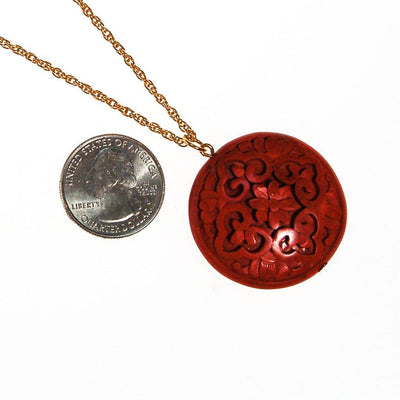 Carved Cinnabar Medallion Pendant Necklace by Chinese Export - Vintage Meet Modern Vintage Jewelry - Chicago, Illinois - #oldhollywoodglamour #vintagemeetmodern #designervintage #jewelrybox #antiquejewelry #vintagejewelry