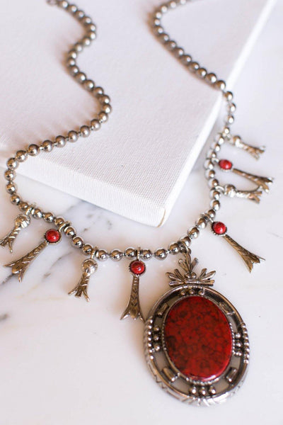 Red Coral Silver Squash Blossom Necklace by ART Mode by Art Mode - Vintage Meet Modern Vintage Jewelry - Chicago, Illinois - #oldhollywoodglamour #vintagemeetmodern #designervintage #jewelrybox #antiquejewelry #vintagejewelry