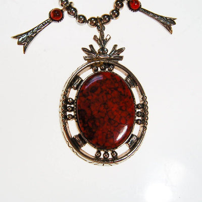 Red Coral Silver Squash Blossom Necklace by ART Mode by Art Mode - Vintage Meet Modern - Chicago, Illinois