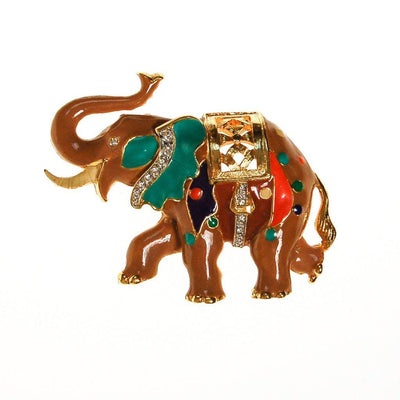 Bejeweld Colorful Elephant Pendant Brooch by Unsigned Beauty - Vintage Meet Modern Vintage Jewelry - Chicago, Illinois - #oldhollywoodglamour #vintagemeetmodern #designervintage #jewelrybox #antiquejewelry #vintagejewelry