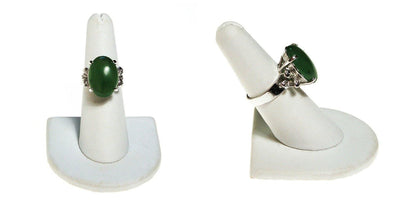 Green Jade Statement Ring, Sterling Silver by Sterling Silver - Vintage Meet Modern - Chicago, Illinois