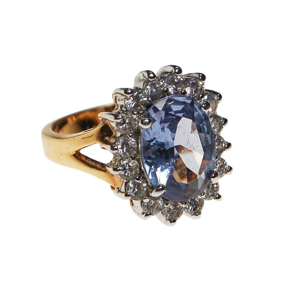 Blue Topaz CZ Princess Style Cocktail Ring - Vintage Meet Modern  - 1