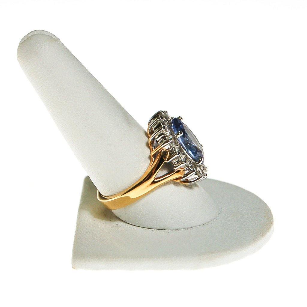 Blue Topaz CZ Princess Style Cocktail Ring - Vintage Meet Modern  - 3