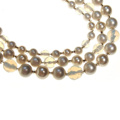 Opal Bead and Pearl Triple Strand Necklace by Made in Japan - Vintage Meet Modern Vintage Jewelry - Chicago, Illinois - #oldhollywoodglamour #vintagemeetmodern #designervintage #jewelrybox #antiquejewelry #vintagejewelry