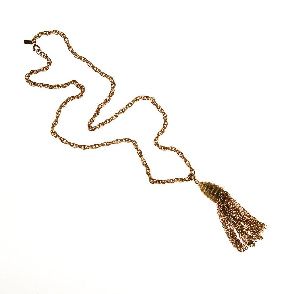 Monet Gold Tassel Necklace, 1970s, Designer Jewelry - Vintage Meet Modern  - 2