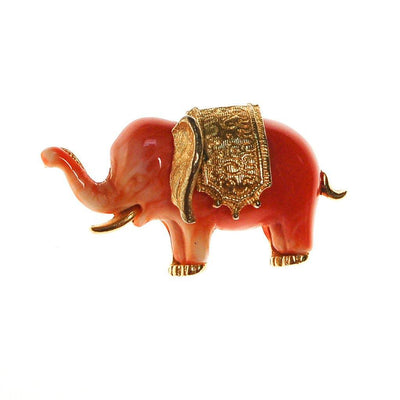 Faux Coral Elephant Brooch by Unsigned Beauty - Vintage Meet Modern - Chicago, Illinois