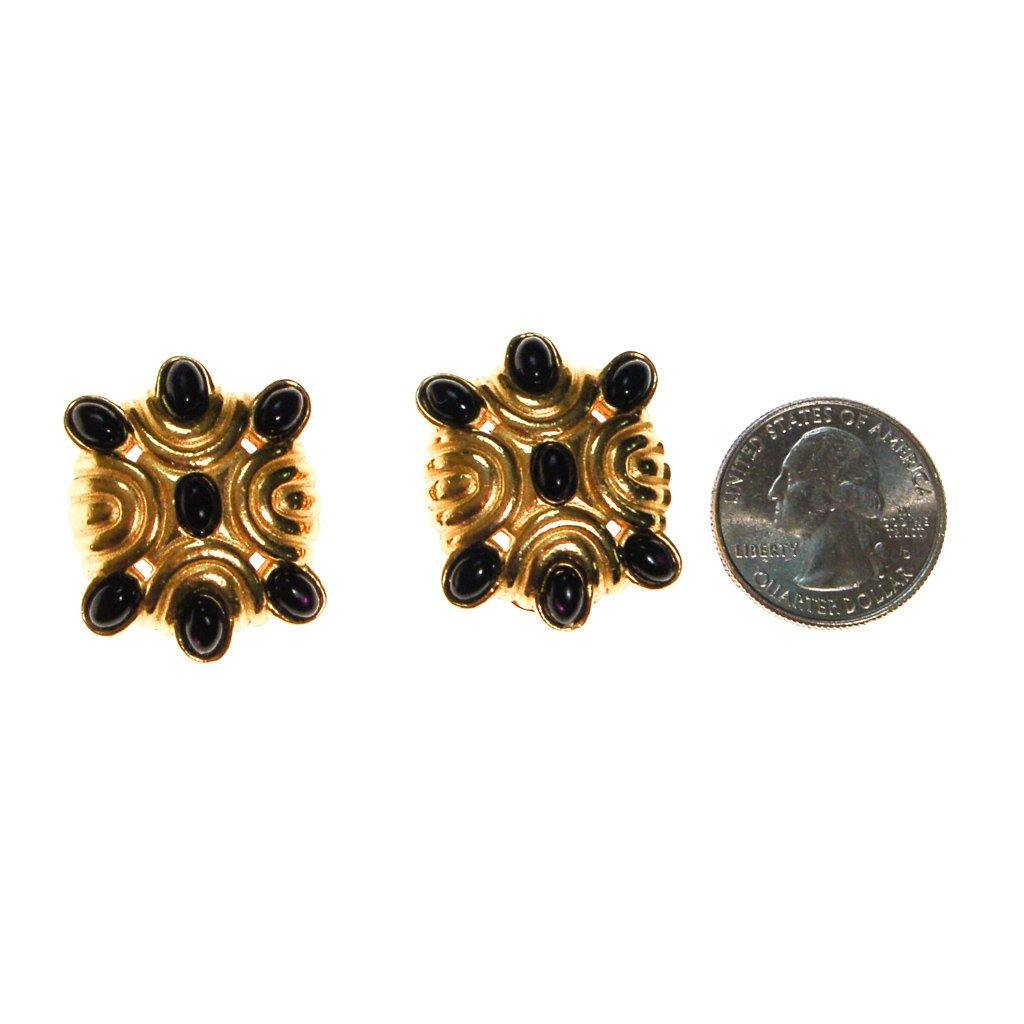 1980s Black and Gold Statement Earrings - Vintage Meet Modern  - 3