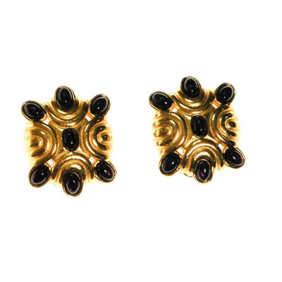 1980s Black and Gold Statement Earrings by Unsigned Beauty - Vintage Meet Modern Vintage Jewelry - Chicago, Illinois - #oldhollywoodglamour #vintagemeetmodern #designervintage #jewelrybox #antiquejewelry #vintagejewelry