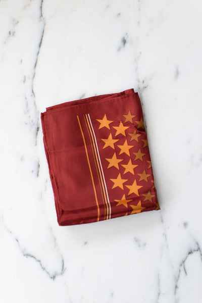 Echo Red Silk Scarf with Golden Yellow Stars by Echo - Vintage Meet Modern Vintage Jewelry - Chicago, Illinois - #oldhollywoodglamour #vintagemeetmodern #designervintage #jewelrybox #antiquejewelry #vintagejewelry
