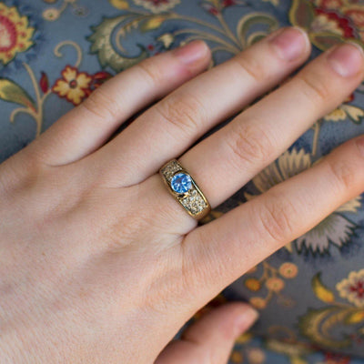 Blue Topaz and Pave CZ Ring set in Sterling Silver by Blue Topaz - Vintage Meet Modern Vintage Jewelry - Chicago, Illinois - #oldhollywoodglamour #vintagemeetmodern #designervintage #jewelrybox #antiquejewelry #vintagejewelry