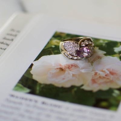Amethyst and Pave CZ Ring set in Sterling Silver by Amethyst - Vintage Meet Modern Vintage Jewelry - Chicago, Illinois - #oldhollywoodglamour #vintagemeetmodern #designervintage #jewelrybox #antiquejewelry #vintagejewelry
