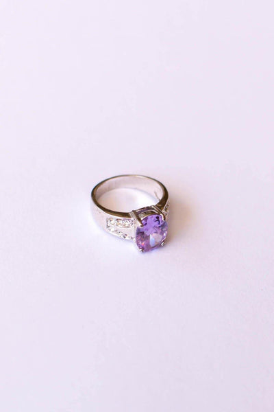 Iolite Oval Solitaire Ring with Pave Cubic Ziroconia Accents set in Silver Tone by Iolite - Vintage Meet Modern - Chicago, Illinois