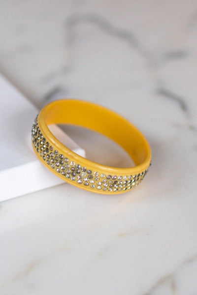 Art Deco Yellow Celluloid Bangle Bracelet with Rhinestones by Art Deco - Vintage Meet Modern Vintage Jewelry - Chicago, Illinois - #oldhollywoodglamour #vintagemeetmodern #designervintage #jewelrybox #antiquejewelry #vintagejewelry