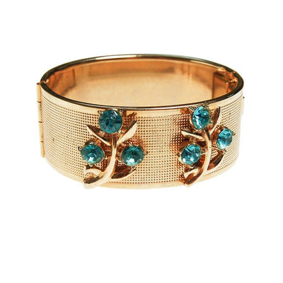 Gold Bangle Bracelet with Blue Rhinestones by Mid Century Modern - Vintage Meet Modern - Chicago, Illinois