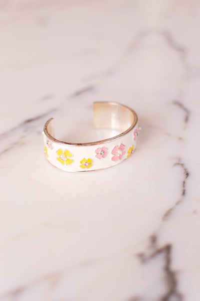 Pink and Yellow Flower White Enamel Cuff Bracelet with Rhinestones, Pearls by Unsigned Beauty - Vintage Meet Modern Vintage Jewelry - Chicago, Illinois - #oldhollywoodglamour #vintagemeetmodern #designervintage #jewelrybox #antiquejewelry #vintagejewelry