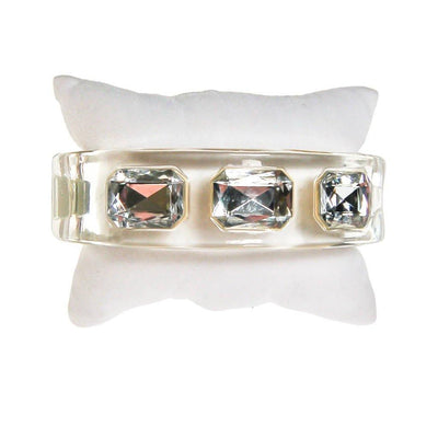 Clear Lucite Hinged Bangle Bracelet with huge channel set rhinestones by Lucite - Vintage Meet Modern Vintage Jewelry - Chicago, Illinois - #oldhollywoodglamour #vintagemeetmodern #designervintage #jewelrybox #antiquejewelry #vintagejewelry