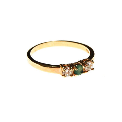 Emerald and CZ Three Stone Gold Band Ring by Emerald and CZ - Vintage Meet Modern Vintage Jewelry - Chicago, Illinois - #oldhollywoodglamour #vintagemeetmodern #designervintage #jewelrybox #antiquejewelry #vintagejewelry