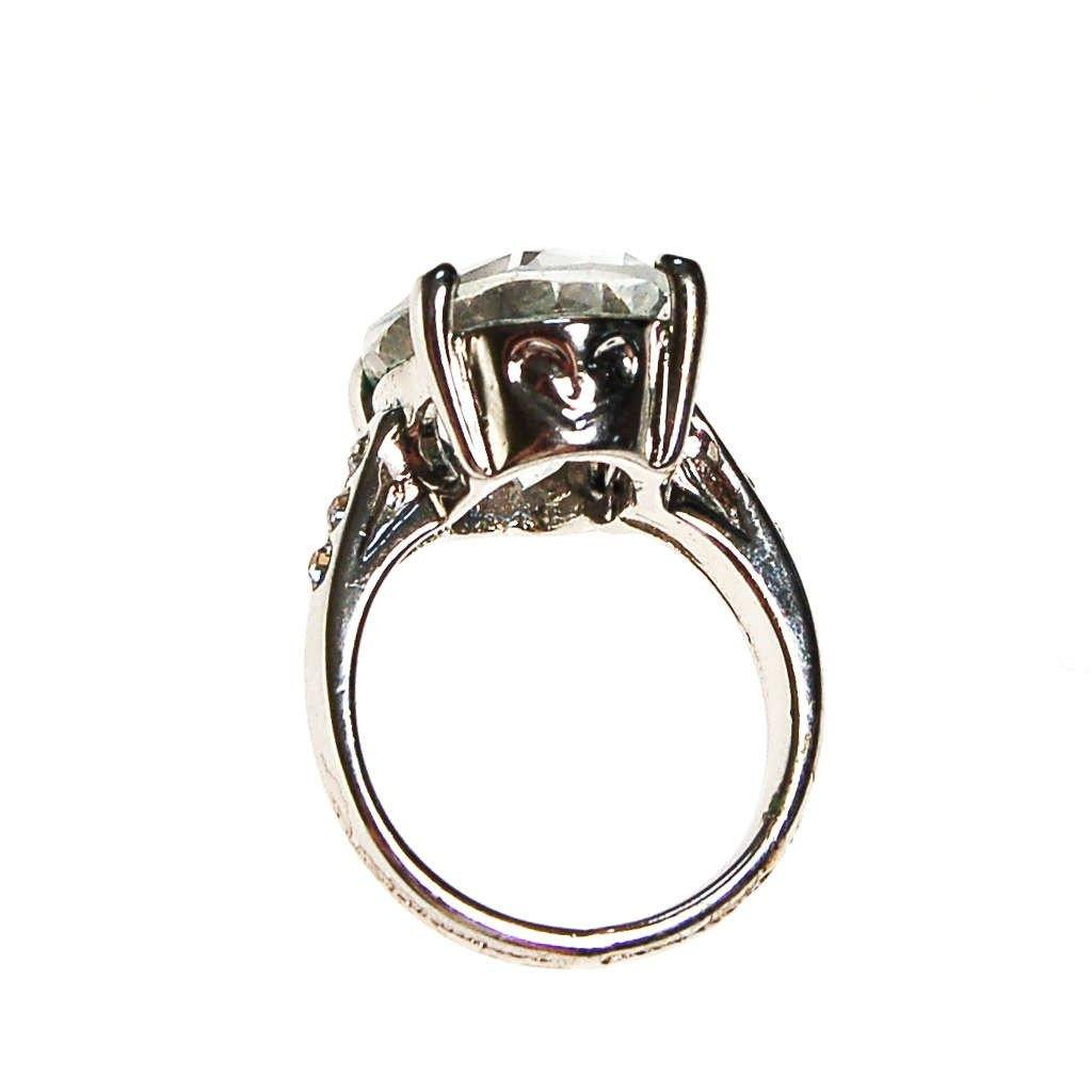 Huge Oval CZ Statement Ring set in Silver Tone