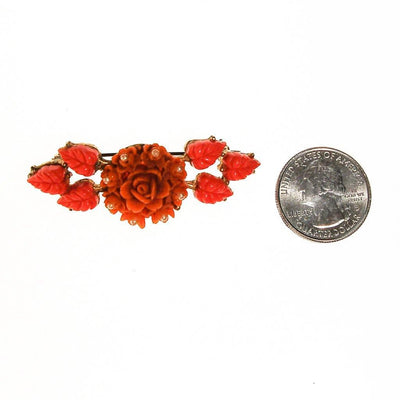 Coral and Pink Carved Celluloid Rose Brooch by Unsigned Beauty - Vintage Meet Modern - Chicago, Illinois