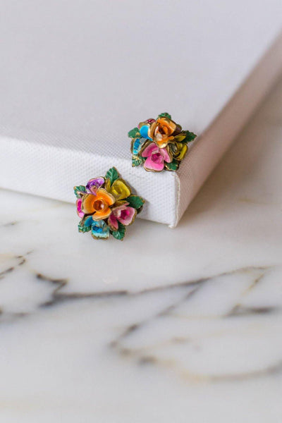 Colorful Rose Earrings, Made in Austria by Made in Austria - Vintage Meet Modern Vintage Jewelry - Chicago, Illinois - #oldhollywoodglamour #vintagemeetmodern #designervintage #jewelrybox #antiquejewelry #vintagejewelry