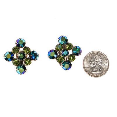Blue and Green Aurora Borealis Rhinestone Earrings by Unsigned Beauty - Vintage Meet Modern Vintage Jewelry - Chicago, Illinois - #oldhollywoodglamour #vintagemeetmodern #designervintage #jewelrybox #antiquejewelry #vintagejewelry