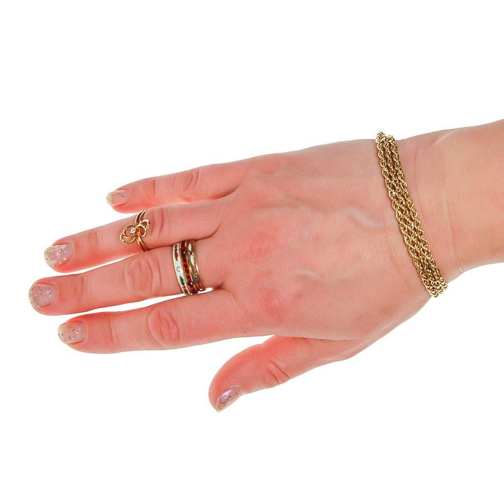 Gold Triple Chain Bracelet - Vintage Meet Modern  - 5