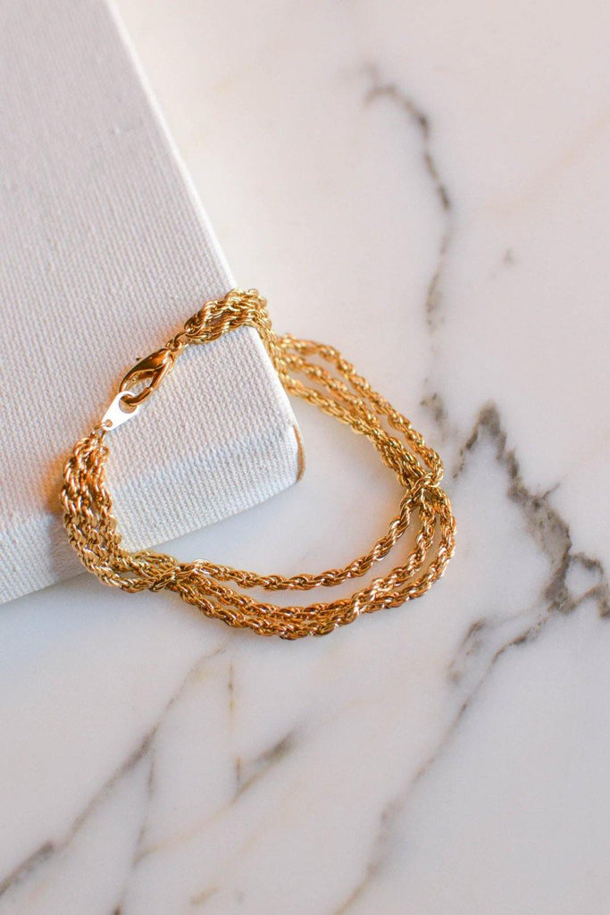 Gold Triple Chain Bracelet - Vintage Meet Modern  - 1
