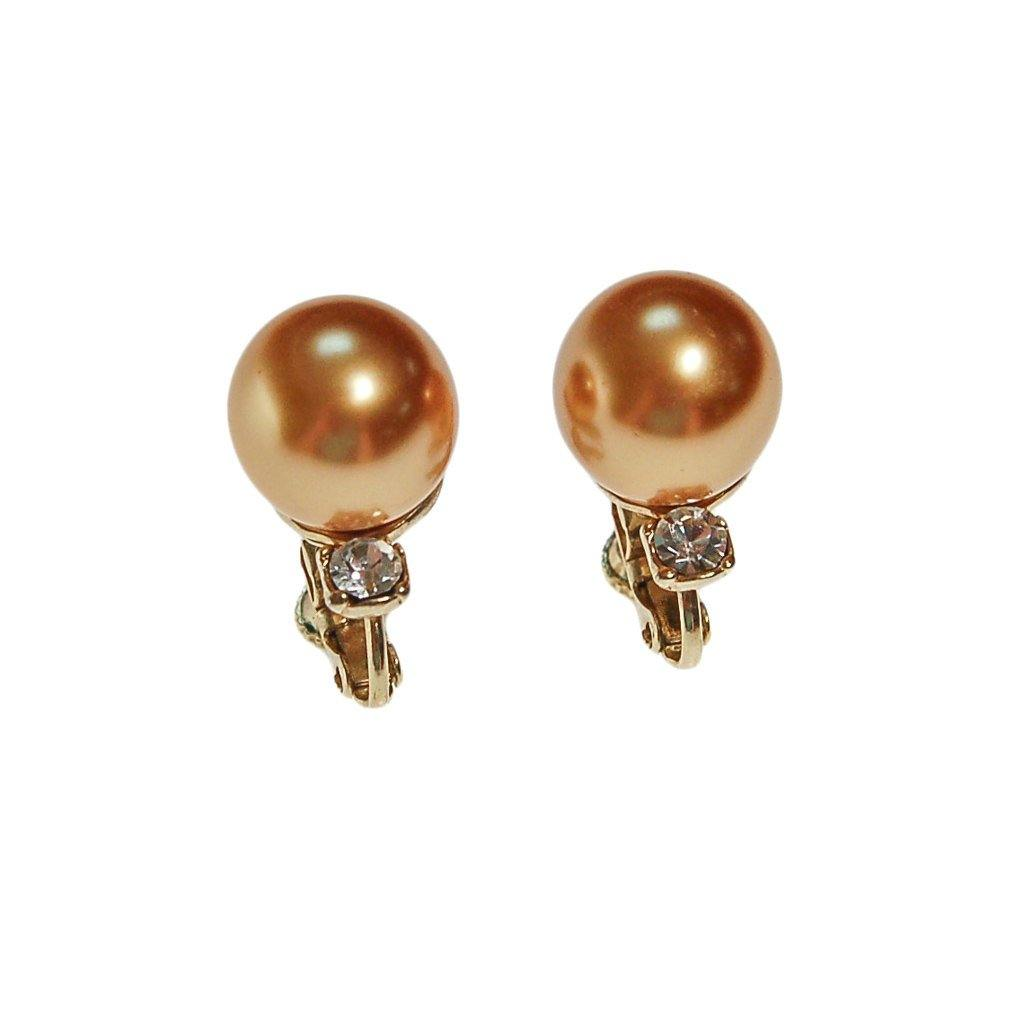 Gold Pearl Earrings with Cubic Zirconia - Vintage Meet Modern  - 2