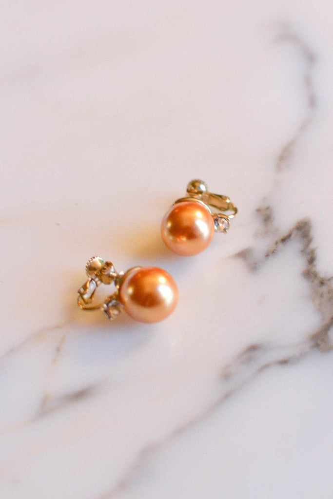 Gold Pearl Earrings with Cubic Zirconia - Vintage Meet Modern  - 1