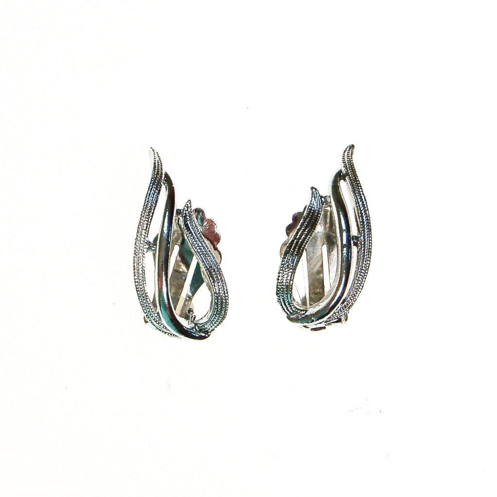 Sarah Coventry Silver Flame Earrings - Vintage Meet Modern  - 2