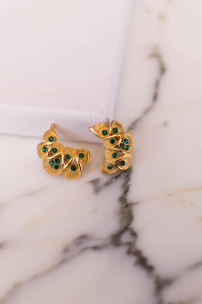 Kramer Gold Tone with Green Rhinestone Ear Crawler Earrings by Kramer - Vintage Meet Modern Vintage Jewelry - Chicago, Illinois - #oldhollywoodglamour #vintagemeetmodern #designervintage #jewelrybox #antiquejewelry #vintagejewelry