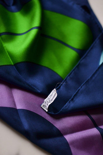 Mod Geometric Silk Scarf, Blue, Green, Purple, Pink by Baar & Beards, Scarf - Vintage Meet Modern