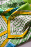 Vera 100% silk scarf, Blue, Green, Yellow, White