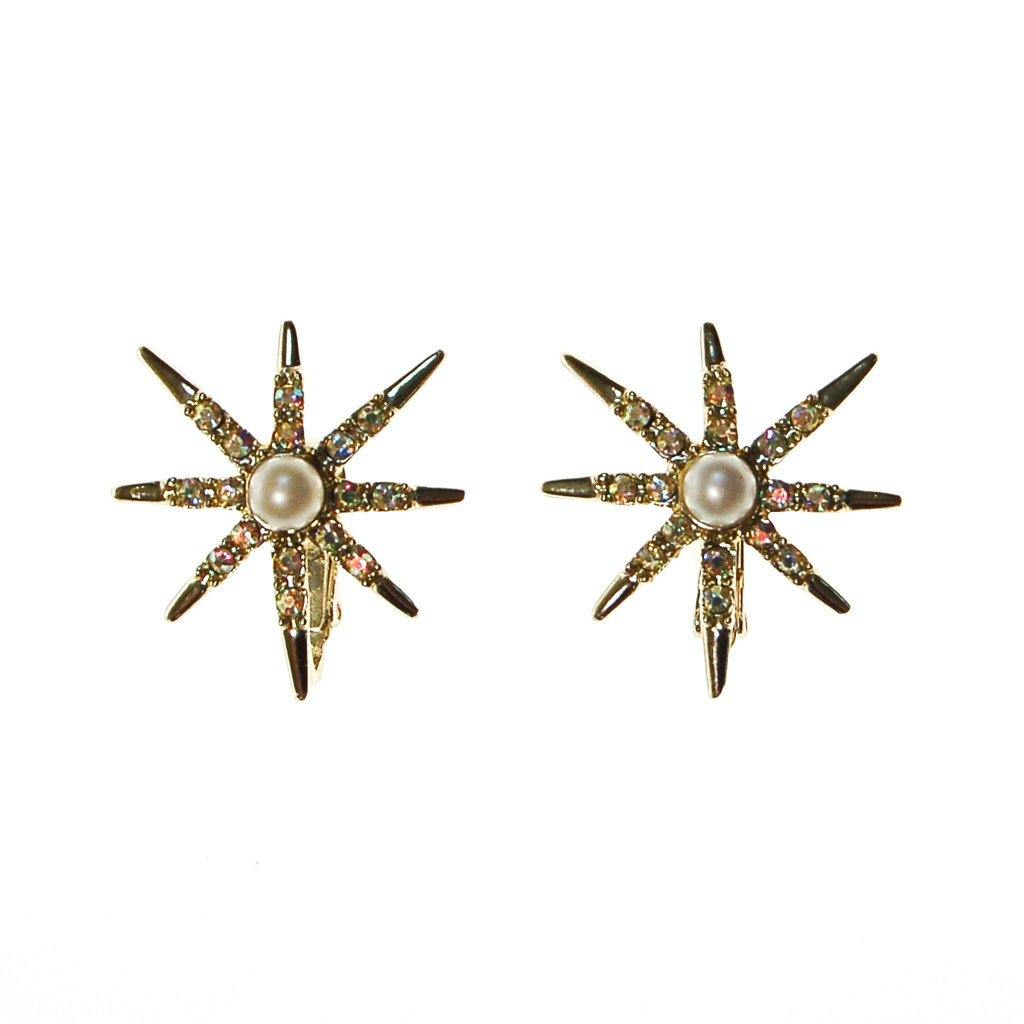 Judy Lee Gold Rhinestones Star Earrings - Vintage Meet Modern  - 1