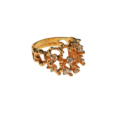 Gold Brutalist Ring with Rhinestones by Brutalist - Vintage Meet Modern - Chicago, Illinois
