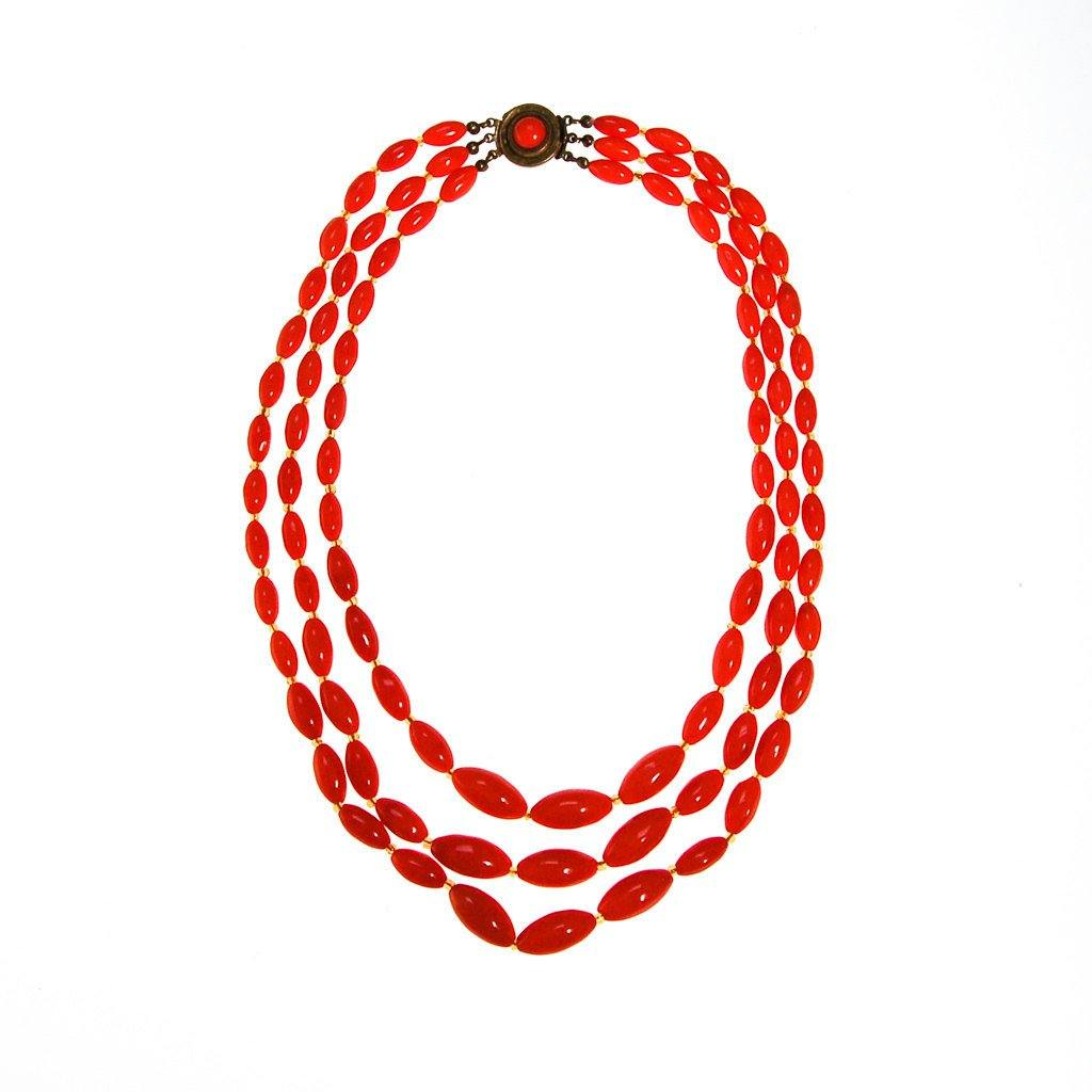 Coral Glass Bead Necklace, Triple Strand, Made in Austria - Vintage Meet Modern  - 2