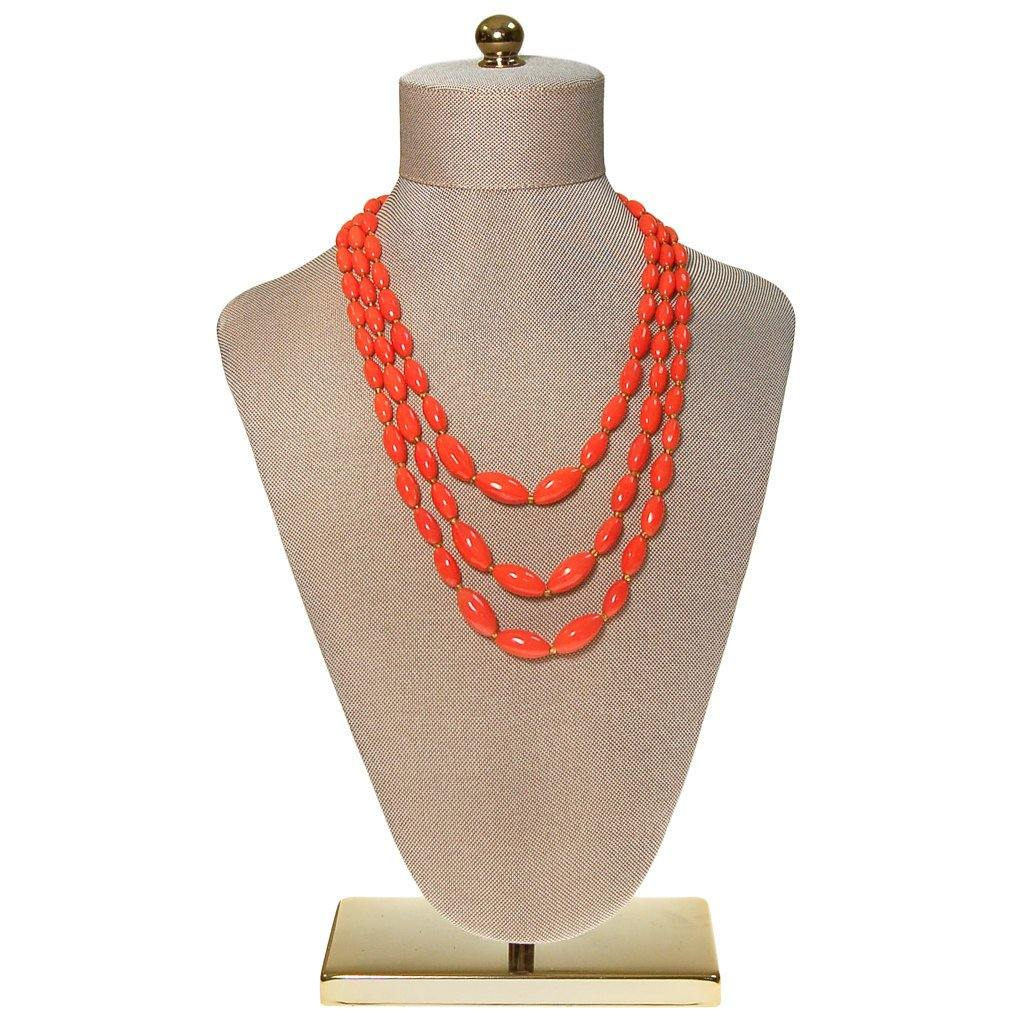 Coral Glass Bead Necklace, Triple Strand, Made in Austria - Vintage Meet Modern  - 5