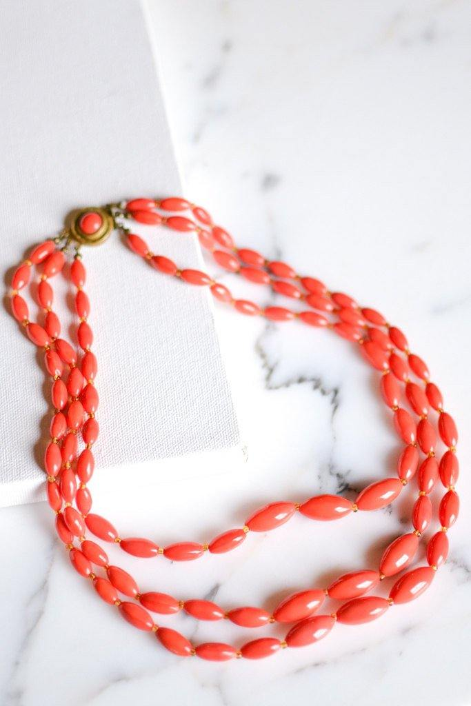 Coral Glass Bead Necklace, Triple Strand, Made in Austria - Vintage Meet Modern  - 1