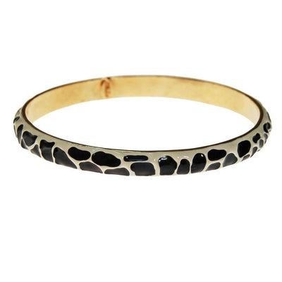 Black and White Zebra Bangle Bracelet by Kenneth Jay Lane by Kenneth Jay Lane - Vintage Meet Modern - Chicago, Illinois