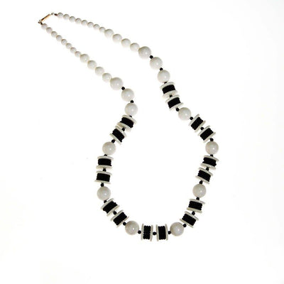 Long Black and White Chunky Bead Necklace by Unsigned Beauty - Vintage Meet Modern - Chicago, Illinois